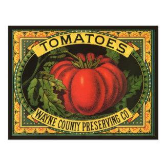 Vintage Fruit Crate Label Art, Wayne Co Tomatoes Post Card