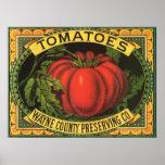 Vintage Fruit Crate Label Art, Wayne Co Tomatoes Poster
