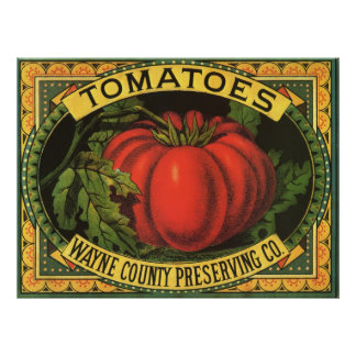 Vintage Fruit Crate Label Art, Wayne Co Tomatoes Posters