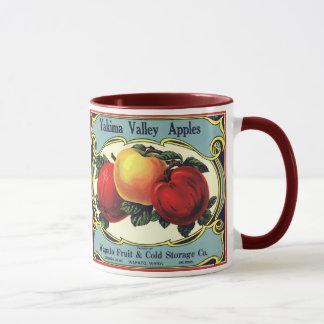 Vintage Fruit Crate Label Art Yakima Valley Apples Mug