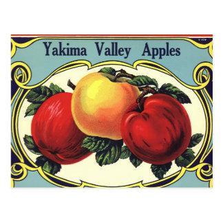 Vintage Fruit Crate Label Art Yakima Valley Apples Postcard