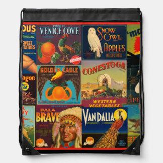 Vintage Fruit Crate Labels Cinch Bag