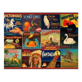 Vintage Fruit Crate Labels Postcard