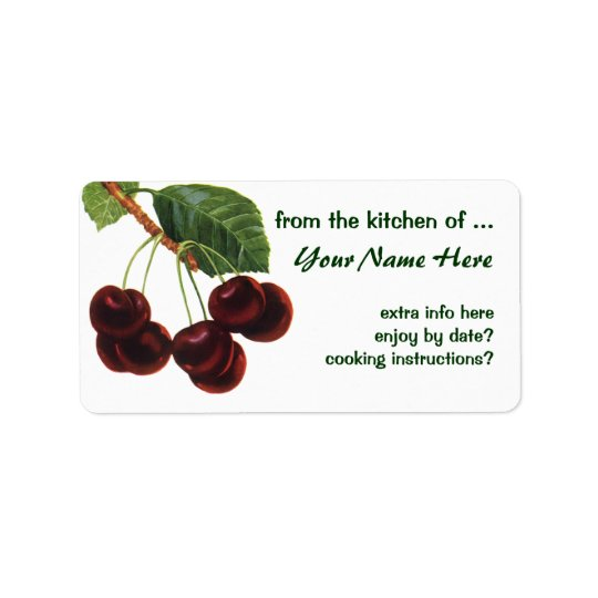 Vintage Fruit Foods, Ripe Cherries from a Tree Label