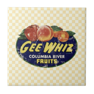 Vintage Fruit Label Peaches, Funny Gee Whiz Small Square Tile