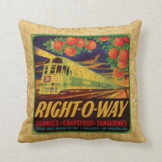 Vintage fruit label Right-O-Way and Suntan citrus Cushion