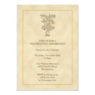 Vintage fruit tree Thanksgiving fall invitation