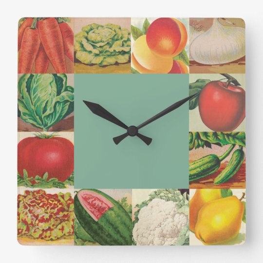 Vintage fruits and vegetables square wall clock