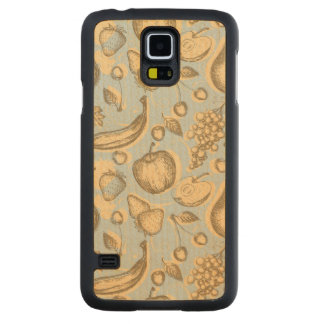 Vintage fruits pattern carved maple galaxy s5 case