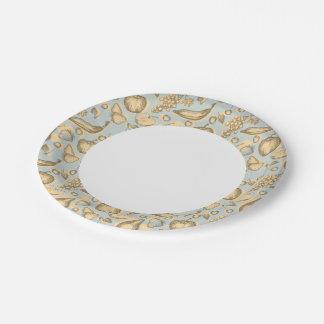 Vintage fruits pattern paper plate