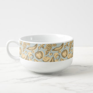 Vintage fruits pattern soup mug