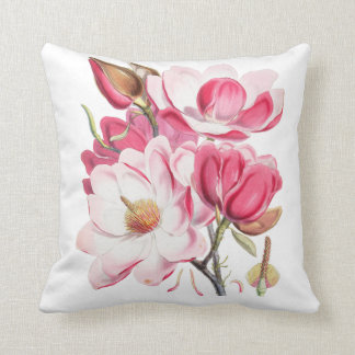 Vintage fuchsia blush pink elegant floral cushion