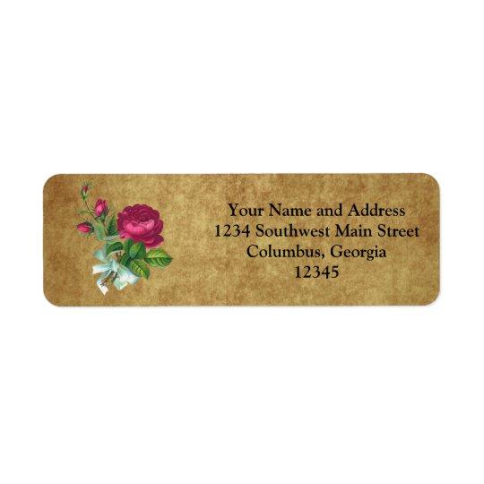 Vintage Fuchsia Rose Return Address Label