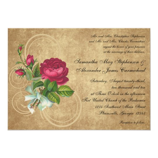Burlap Rustic Vintage Wedding Invitations