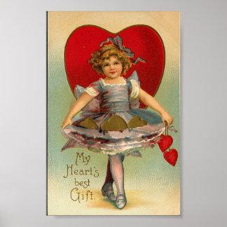 Vintage Full Skirts Heart Valentine Print