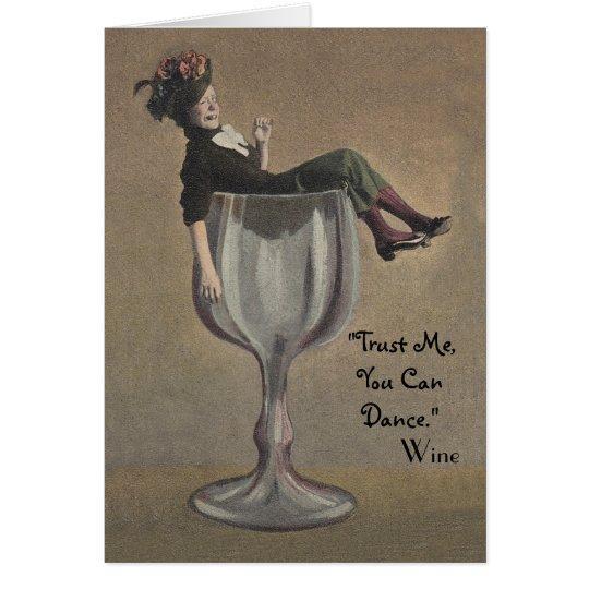 Vintage Fun Birthday Card Lady in Wine Glass