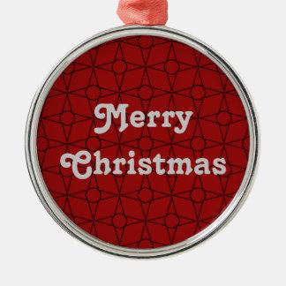 Vintage Funk Premium Round Ornament, Dark Red Silver-Colored Round Decoration