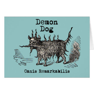 Vintage funny demon dog greeting card