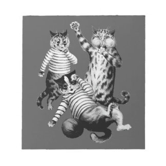 Vintage funny football playing cats notepads