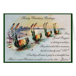 Vintage Funny Frogs Christmas Greeting Card