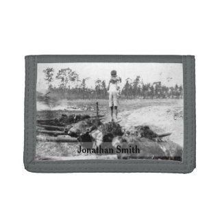 Vintage Funny Kid Eating BBQ Scene•Custom Tri-fold Wallets