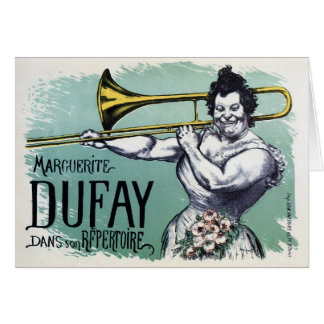 Vintage funny strong woman playing the trombone greeting card
