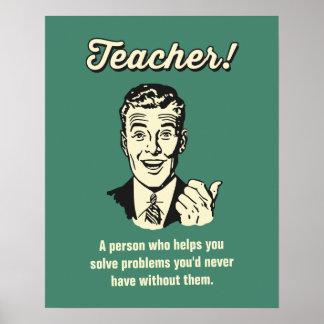 Vintage Funny Teacher Definition for Students Poster