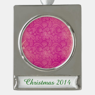 Vintage Fuscia Paisley Silver Plated Banner Ornament
