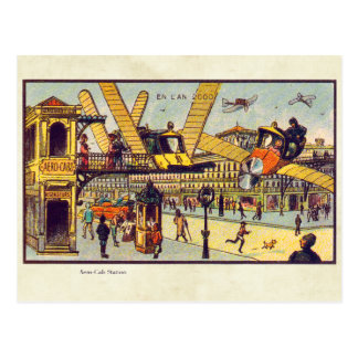 Vintage Futuristic Flying Machines Color Art Postcard