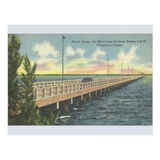 Vintage Gandy Bridge Tampa St. Petersburg Postcard