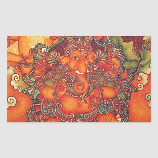 VINTAGE GANESH PAINTING RECTANGLE STICKERS