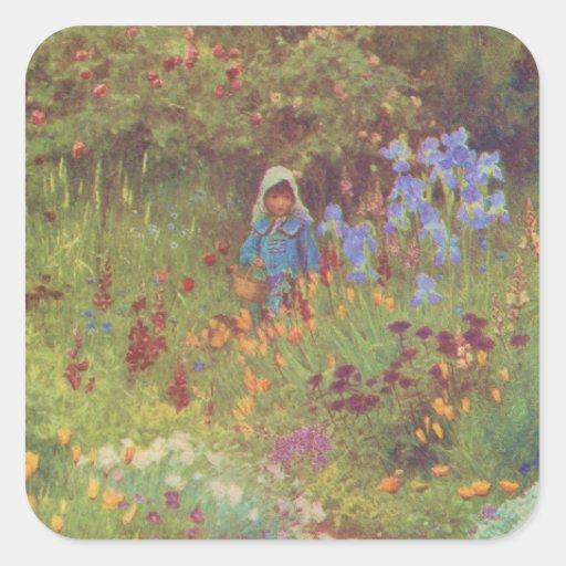 Vintage Garden Art - Allingham, Helen Square Stickers