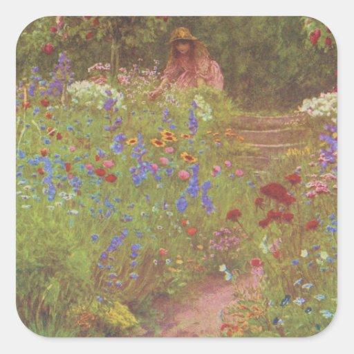 Vintage Garden Art - Allingham, Helen Square Sticker