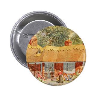 Vintage Garden Art - Beautiful House Pinback Buttons