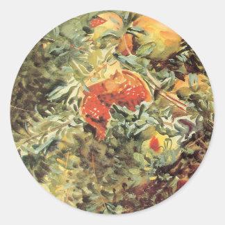 Vintage Garden Art, Pomegranates II by Sargent Round Sticker