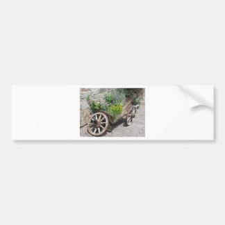 Vintage garden barrow with wild flowers and herbs bumper sticker