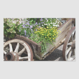 Vintage garden barrow with wild flowers and herbs rectangular sticker