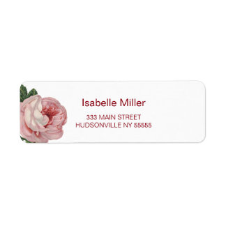 Vintage Garden Floral Pink Rose Return Address Label