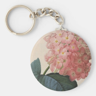 Vintage Garden Flowers, Pink Hydrangea Hortensia Key Ring