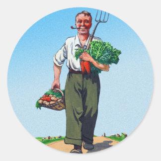 Vintage Garden Gardening Harvest Man Vegetables Round Sticker
