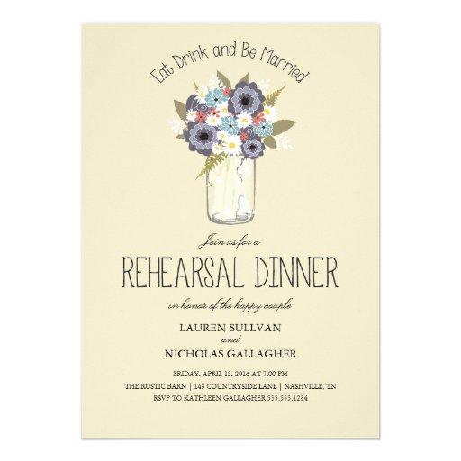 Vintage Garden Mason Jar | Rehearsal Dinner Personalized Invitation