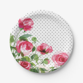 Vintage Garden Rose paper plates 7 Inch Paper Plate