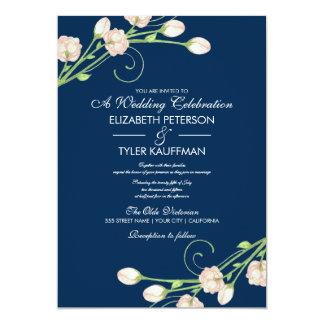 Vintage Garden Roses On Blue - Wedding Invitations