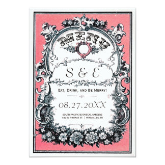 Vintage Garden Wedding Menu Cards