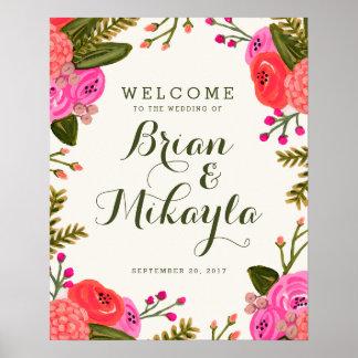 Vintage Garden Wedding Welcome Poster
