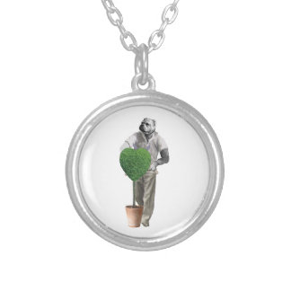 Vintage Gardening Dog Silver Plated Necklace