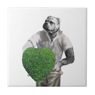 Vintage Gardening Dog Small Square Tile