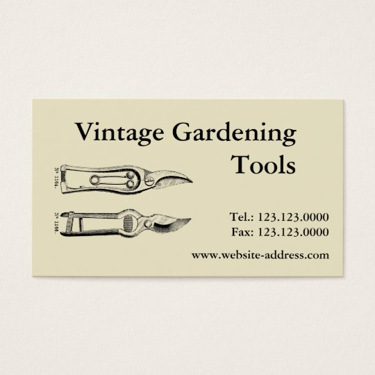 Vintage Gardening Tools Pruners Business cards