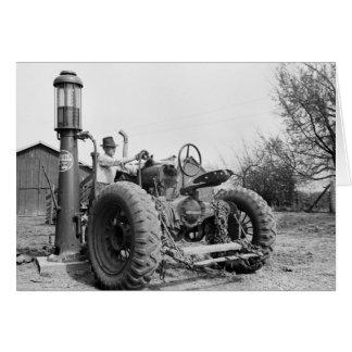 Vintage Gas Pump on the Farm, 1940s Card