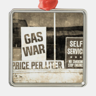 Vintage Gas War Sign Silver-Colored Square Decoration